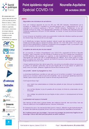 Covid 19 Points Epidemio Regionaux Coronavirus Nouvelle Aquitaine Septembre Octobre 2020 Agence Regionale De Sante Nouvelle Aquitaine